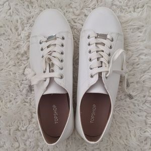 Topshop Leather Sneakers in White